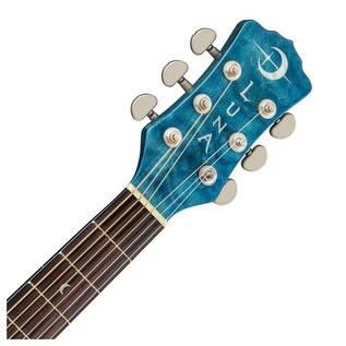Luna Fauna Dragonfly Electro Acoustic Guitar, Quilted Maple Neck & Headstock View