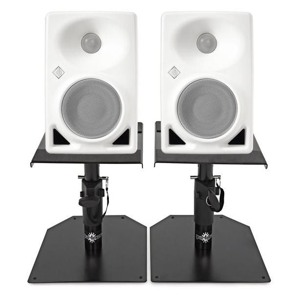 Neumann KH 80 DSP Studio Monitor Pair, White with Monitor Stands 1