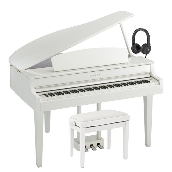 Yamaha CLP 665 Digital Grand Piano Package, Polished White