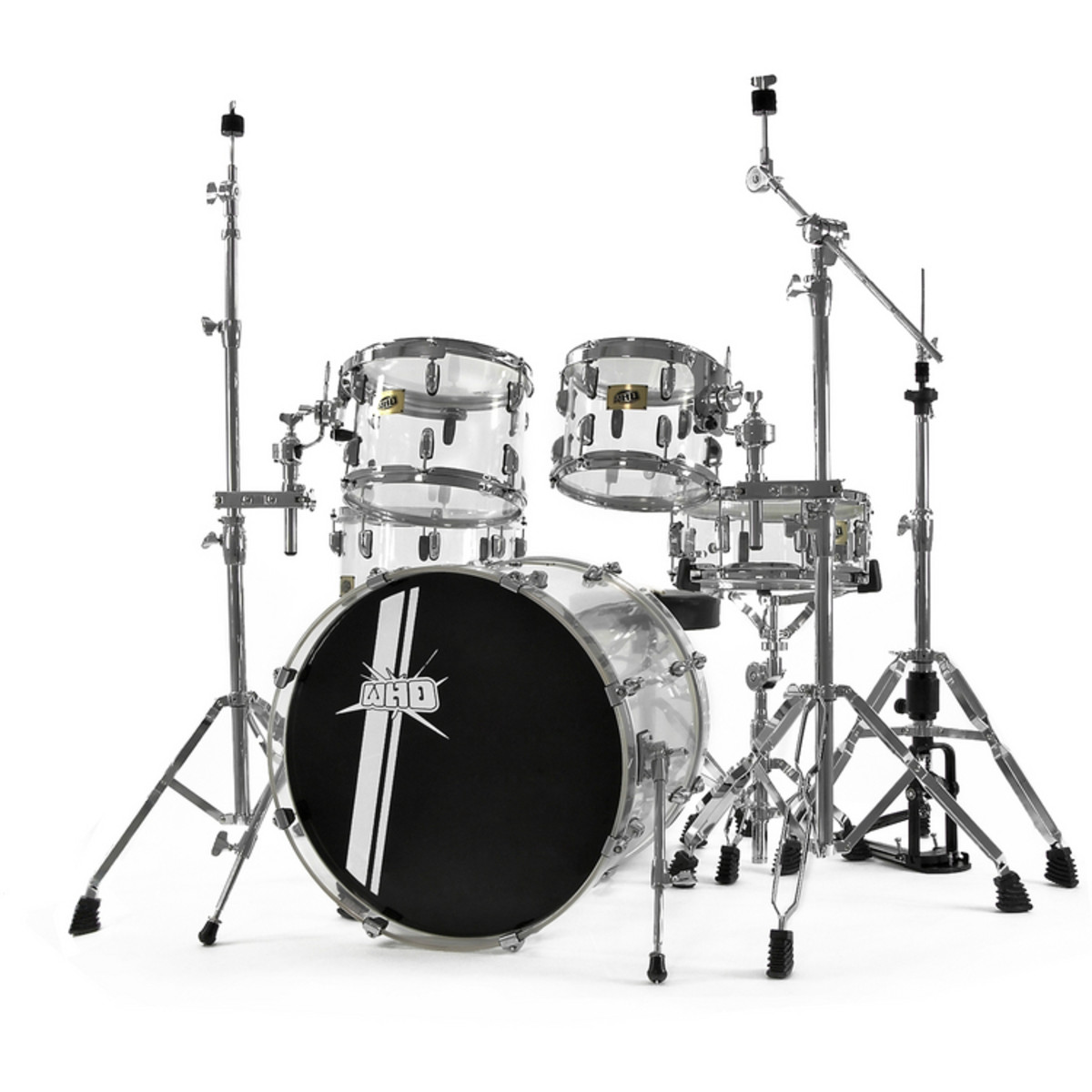 DISC WHD Acrylic Drum Kit, Crystal-Clear at Gear4music.com