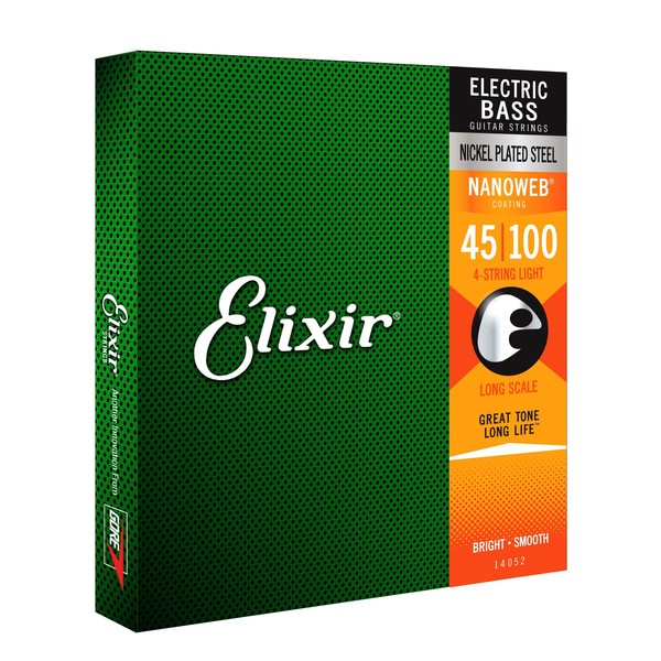 Elixir E14052 Nanoweb Light Long Bass Strings, 45-100