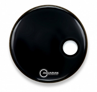 """Aquarian Classic 22"""" Front Head with 4.25"""" Port, Black Gloss"""