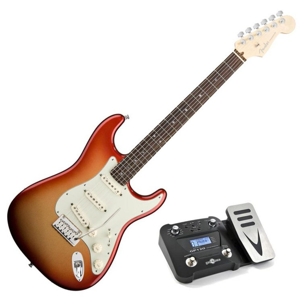 fender american deluxe stratocaster rw sunset metallic pedal pack at gear4music. Black Bedroom Furniture Sets. Home Design Ideas
