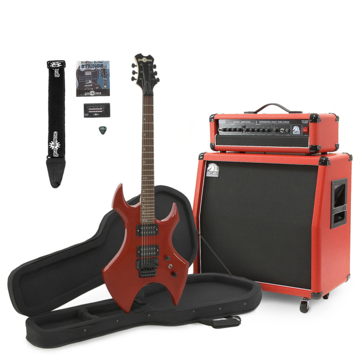 Metal-X Guitar + White Horse 60W Tube Guitar Amp with 4x8 Cab, Red ... 6a101eddff8