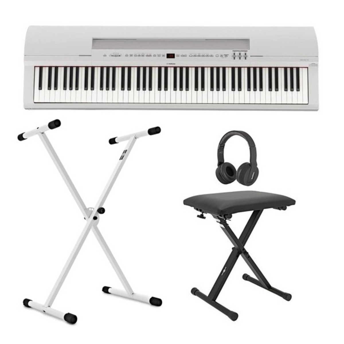 Yamaha P255 Digitalpiano, weiß, im Paket mit X-Rahmen bei Gear4music