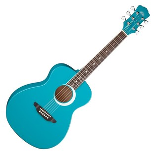 Luna Aurora Borealis 3/4 Guitar, Teal Front View