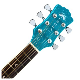 Luna Aurora Borealis 3/4 Guitar, Teal Neck & Headstock View