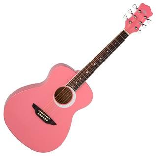 Luna Aurora Borealis 3/4 Guitar, Pink Front View