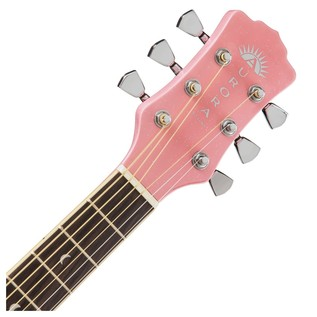 Luna Aurora Borealis 3/4 Guitar, Pink Neck & Headstock View