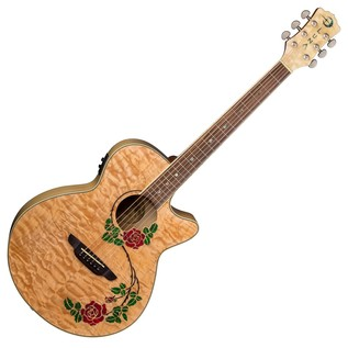 Luna Flora Rose Electro Acoustic Guitar Front View