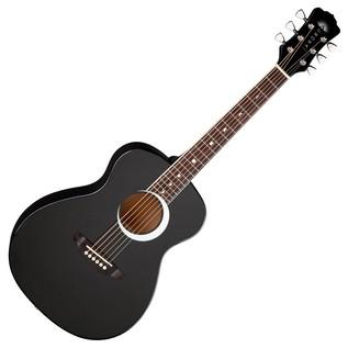 Luna Aurora Borealis 3/4 Guitar, Black Front View