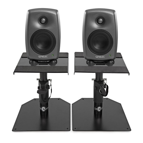Genelec 8020D Studio Monitor, Grey (Pair) With Stands - Bundle
