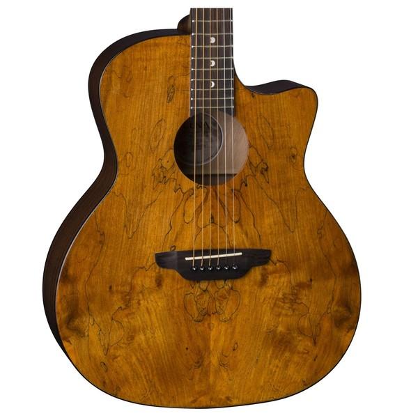 Luna Gypsy Spalt Grand Auditorium Acoustic Guitar Body Close Up View