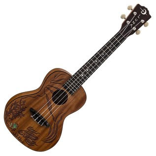 Luna Coral Concert Ukulele, Solid Mahogany Front View