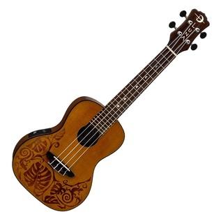 Luna Mo'o Electro Acoustic Concert Ukulele, Solid Cedar Top Front View
