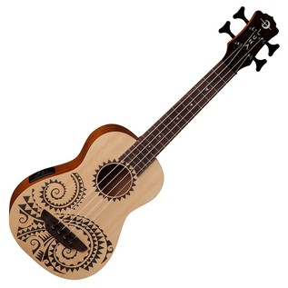 Luna Baritone Electro Acoustic Ukulele Bass, Etched Tattoo Front View