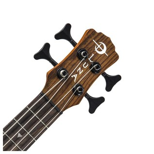 Luna Baritone Electro Acoustic Ukulele Bass, Etched Tattoo Neck & Headstock View