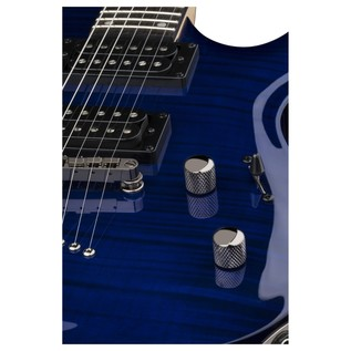 Dean Custom 350 Electric Guitar, Trans Blue Close