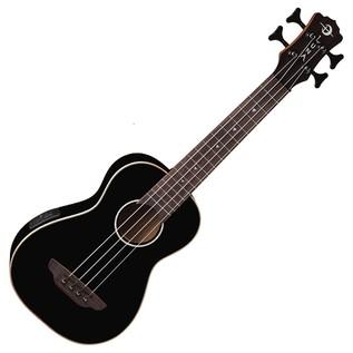Luna Baritone Electro Acoustic Ukulele Bass, Gloss Black Front View