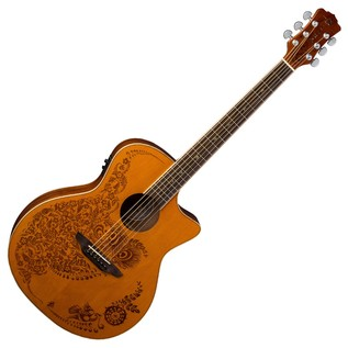 Luna Henna Oasis Electro Acoustic Guitar, Cedar Front View