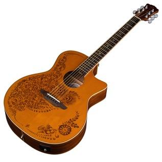 Luna Henna Oasis Electro Acoustic Guitar, Cedar Slanted View
