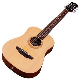 Luna Safari Muse Spruce Travel Guitar + Gig Bag Slanted View