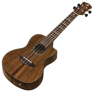 Luna High Tide Electro Acoustic Concert Ukulele, Koa Slanted View