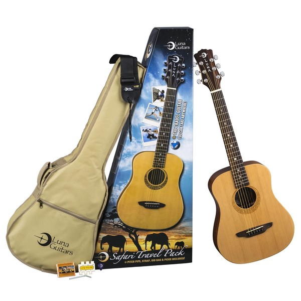 Luna Safari Muse Spruce Travel Guitar Pack - Full Pack View