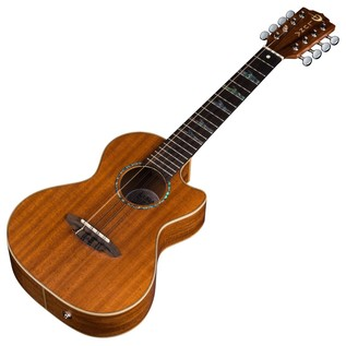 Luna High Tide Tenor 8 String Electro Acoustic Ukulele, Mahogany Slanted View