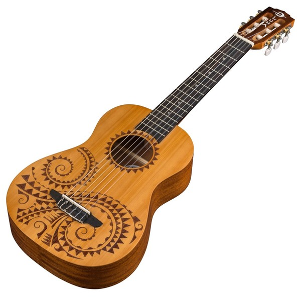 Luna Tattoo 6 String Baritone Ukulele Slanted View