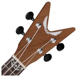 Dean ML Concert Ukulele, Satin Natural Neck & Headstock View