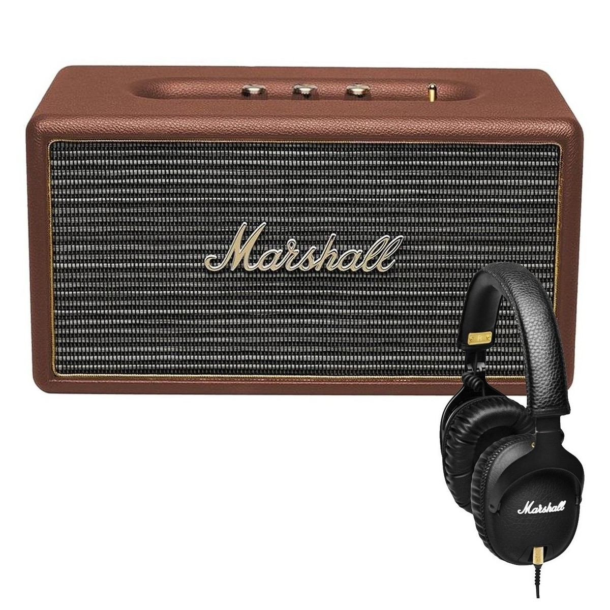 marshall stanmore enceinte bluetooth marron et casque. Black Bedroom Furniture Sets. Home Design Ideas