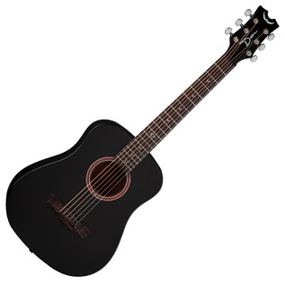 Dean Flight Series Travel Acoustic Guitar, Black Satin Front View