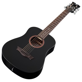 Dean Flight Series Travel Acoustic Guitar, Black Satin Slanted View