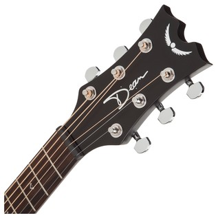 Dean Flight Series Travel Acoustic Guitar, Black Satin Neck & Headstock View