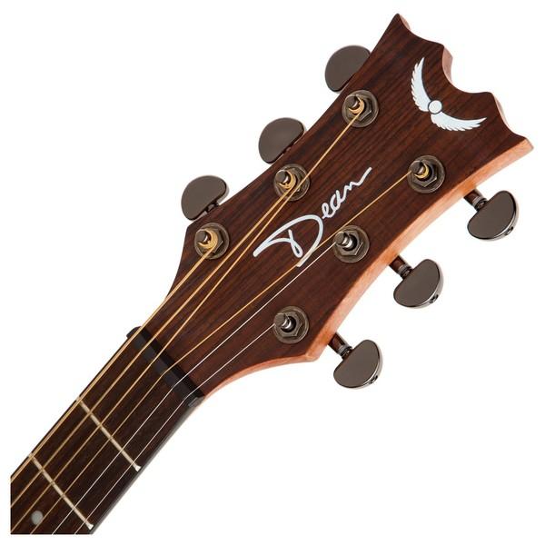 Dean AXS Dreadnought Mahogany Acoustic Guitar, Satin Natural Neck & Headstock View