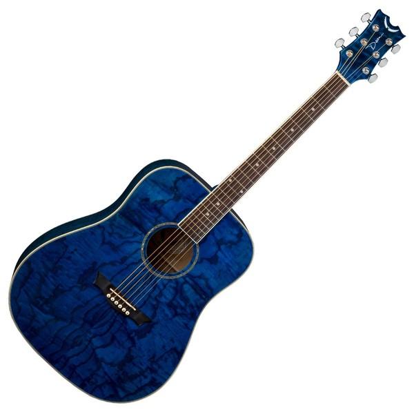 Dean AXS Quilt Ash Dreadnought Acoustic Guitar, Transparent Blue  Front View