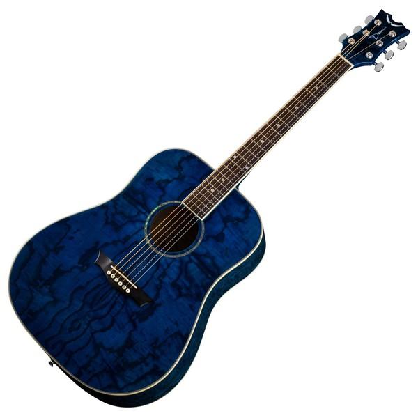 Dean AXS Quilt Ash Dreadnought Acoustic Guitar, Transparent Blue Slanted View