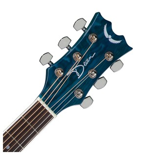 Dean AXS Quilt Ash Dreadnought Acoustic Guitar, Transparent Blue Neck & Headstock View