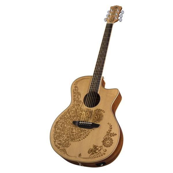 Luna Henna Oasis Electro Acoustic Guitar, Spruce Slant