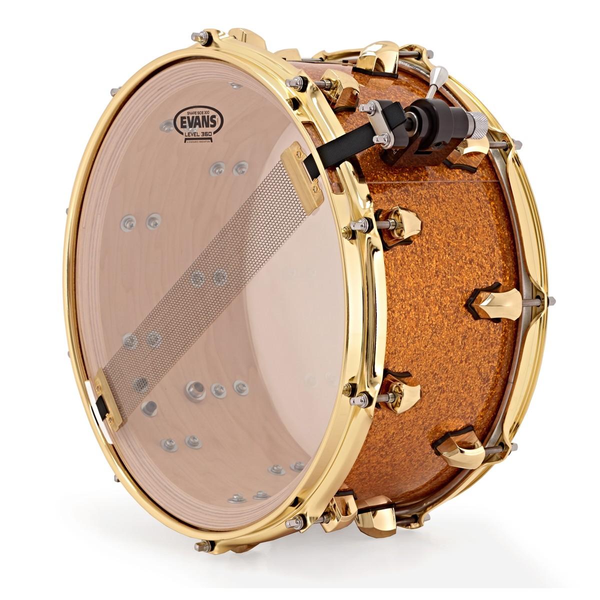SJC Drums 14\'\' x 7\'\' Custom Snare Drum, Gold Glitter w/ Offset Lugs ...