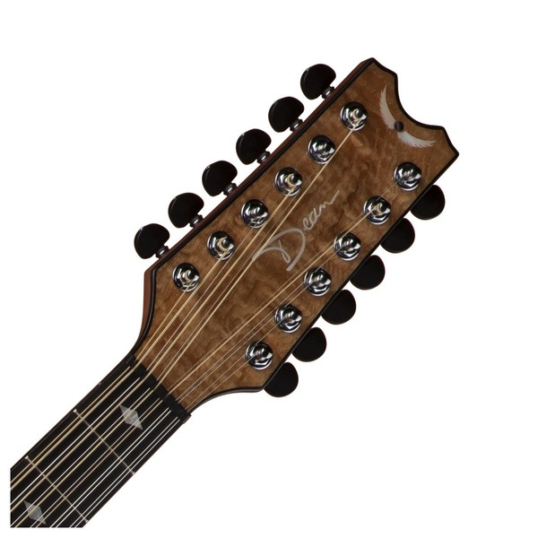 Dean Exhibition 12-String Electro Acoustic, Gloss Natural Neck & Headstock View