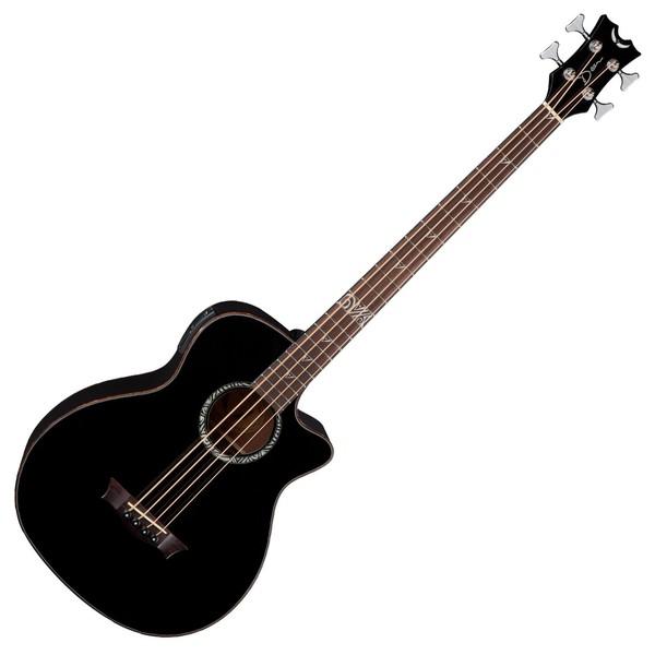Dean Exotica Supreme Electro Acoustic Bass Guitar, Classic Black Front View