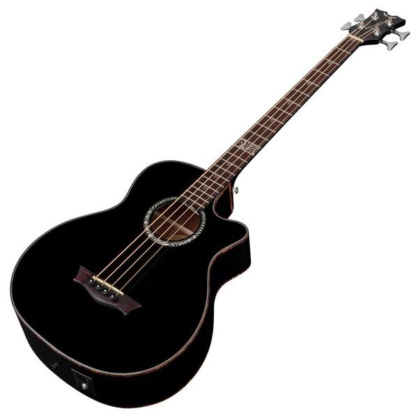 Dean Exotica Supreme Electro Acoustic Bass Guitar, Classic Black Slanted View