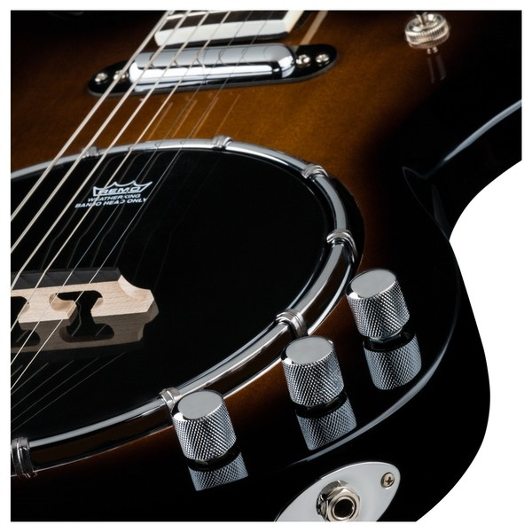 Dean Gran Sport 6-String Solid Body Banjo, Gloss Natural Close Up View