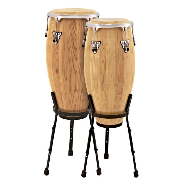 "Conga Drums 10"" + 11"" Set with Stands by Gear4music"