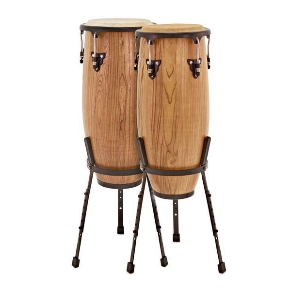 "Pro Conga Drums 10"" + 11"" Set with Stands by Gear4music"