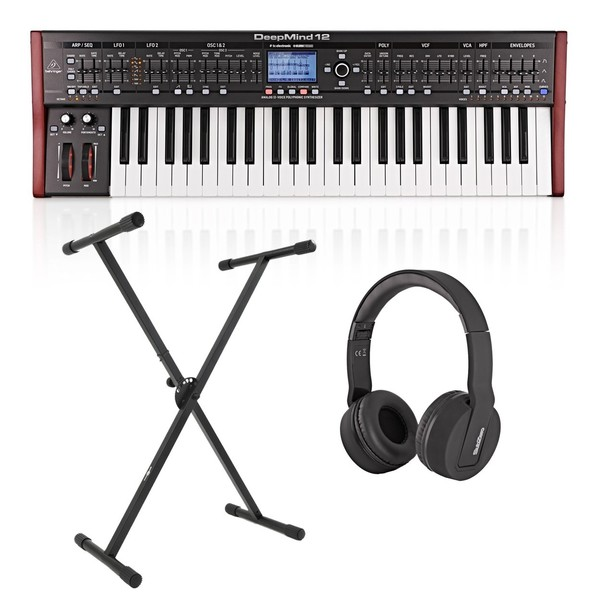 Behringer DeepMind 12 Synthesizer With Stand and Headphones - Bundle