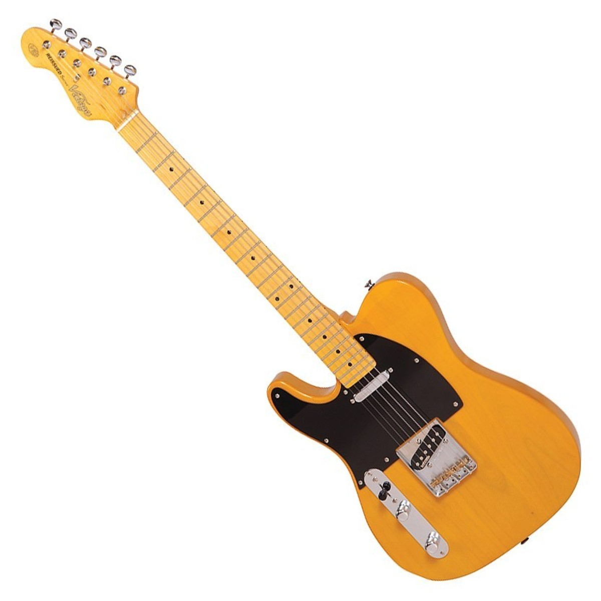 Image of Vintage Reissued V52 Left Handed Electric Guitar Butterscotch - B-Stock
