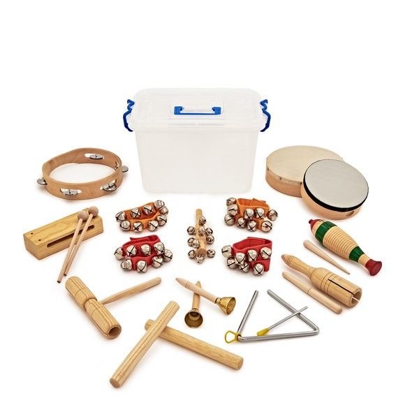 15pc KS2 Drum and Jingle Classroom Percussion Set by Gear4music